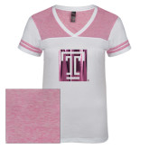 Ladies White/Bright Pink Juniors Varsity V Neck Tee-Box T Foil
