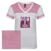 Ladies White/Bright Pink Juniors Varsity V Neck Tee-Box T Foil