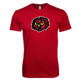 Next Level SoftStyle Cardinal T Shirt-Owl Head