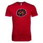 Next Level SoftStyle Cardinal T Shirt-Owl Head