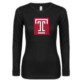 Ladies Black Long Sleeve V Neck T Shirt-Box T