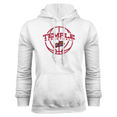 White Fleece Hoodie-Temple Basketball Arched w/Ball