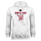 White Fleece Hoodie-Temple Owls Womens Basketball w/Net
