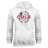 White Fleece Hoodie-Owls Womens Basketball w/Lined Ball