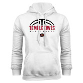 White Fleece Hoodie-Temple Owls Basketball Half Ball