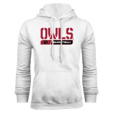 White Fleece Hoodie-Owls Basketball Stencil w/Bar
