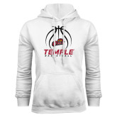White Fleece Hoodie-Temple Basketball Stacked w/Contours