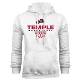 White Fleece Hoodie-Temple Basketball Stacked w/Net Icon