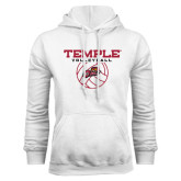 White Fleece Hood-Temple Volleyball Stacked