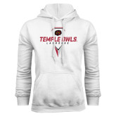 White Fleece Hoodie-Temple Owls Lacrosse w/Lacrosse Stick
