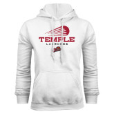 White Fleece Hoodie-Temple Lacrosse Modern