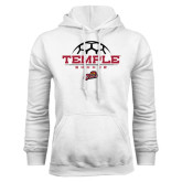 White Fleece Hoodie-Temple Soccer Half Ball