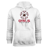 White Fleece Hoodie-Owls Soccer Geometric Ball