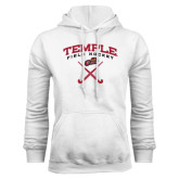White Fleece Hood-Temple Field Hockey Crossed Sticks