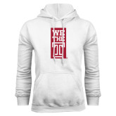 White Fleece Hood-We The T Vertical