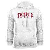 White Fleece Hoodie-Arched Temple University