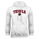 White Fleece Hoodie-Arched Temple w/ Owl Head