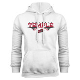 White Fleece Hood-Temple Football Over Football