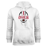 White Fleece Hoodie-Temple University Owls Football Vertical