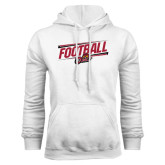 White Fleece Hood-Football Slanted