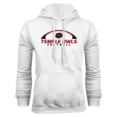 White Fleece Hoodie-Temple Owls Football Under Ball
