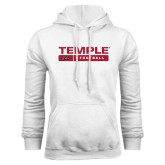 White Fleece Hoodie-Temple Football Stacked w/Bar