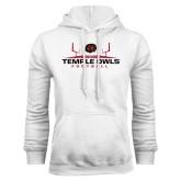 White Fleece Hoodie-Temple Owls Football w/Field