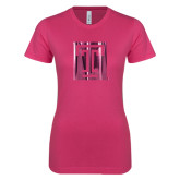 Ladies SoftStyle Junior Fitted Fuchsia Tee-Box T Foil