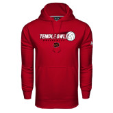 Under Armour Cardinal Performance Sweats Team Hood-Temple Owls Volleyball w/Flying Ball