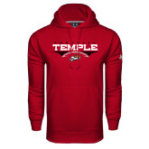 Under Armour Cardinal Performance Sweats Team Hood-Temple Football Over Football