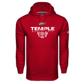 Under Armour Cardinal Performance Sweats Team Hoodie-Temple Basketball Stacked w/Net Icon