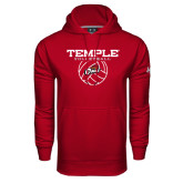 Under Armour Cardinal Performance Sweats Team Hood-Temple Volleyball Stacked