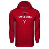 Under Armour Cardinal Performance Sweats Team Hoodie-Temple Owls Lacrosse w/Lacrosse Stick