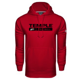 Under Armour Cardinal Performance Sweats Team Hood-Temple Football Stacked w/Bar