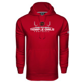 Under Armour Cardinal Performance Sweats Team Hood-Temple Owls Football w/Field