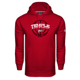 Under Armour Cardinal Performance Sweats Team Hood-Temple Basketball Arched w/Ball