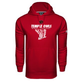 Under Armour Cardinal Performance Sweats Team Hood-Temple Owls Womens Basketball w/Net