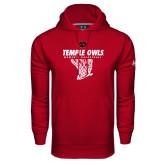 Under Armour Cardinal Performance Sweats Team Hoodie-Temple Owls Womens Basketball w/Net