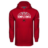 Under Armour Cardinal Performance Sweats Team Hoodie-Temple Owls Basketball Half Ball