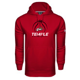 Under Armour Cardinal Performance Sweats Team Hoodie-Temple Basketball Stacked w/Contours