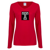 Ladies Cardinal Long Sleeve V Neck T Shirt-Box T