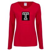 Ladies Cardinal Long Sleeve V Neck T Shirt-Box T