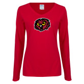 Ladies Cardinal Long Sleeve V Neck T Shirt-Owl Head