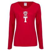 Ladies Cardinal Long Sleeve V Neck T Shirt-Vintage Owl Atop T