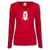 Ladies Cardinal Long Sleeve V Neck T Shirt-Perched Owl T