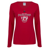 Ladies Cardinal Long Sleeve V Neck T Shirt-Gasparilla Bowl - Face mask Design