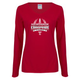 Ladies Cardinal Long Sleeve V Neck T Shirt-Bad Boy Mowers Gasparilla Bowl Champions - Gradient