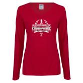 Ladies Cardinal Long Sleeve V Neck Tee-Bad Boy Mowers Gasparilla Bowl Champions - Gradient