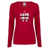 Ladies Cardinal Long Sleeve V Neck T Shirt-Bad Boy Mowers Gasparilla Bowl Champions - Year