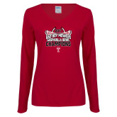Ladies Cardinal Long Sleeve V Neck T Shirt-Bad Boy Mowers Gasparilla Bowl Champions - Stadium